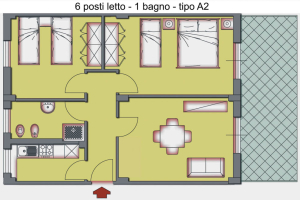A. 3-room flat with 1 bathroom for max 6 people