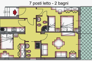 B. 3-room flat with 2 bathroom for max 7 people